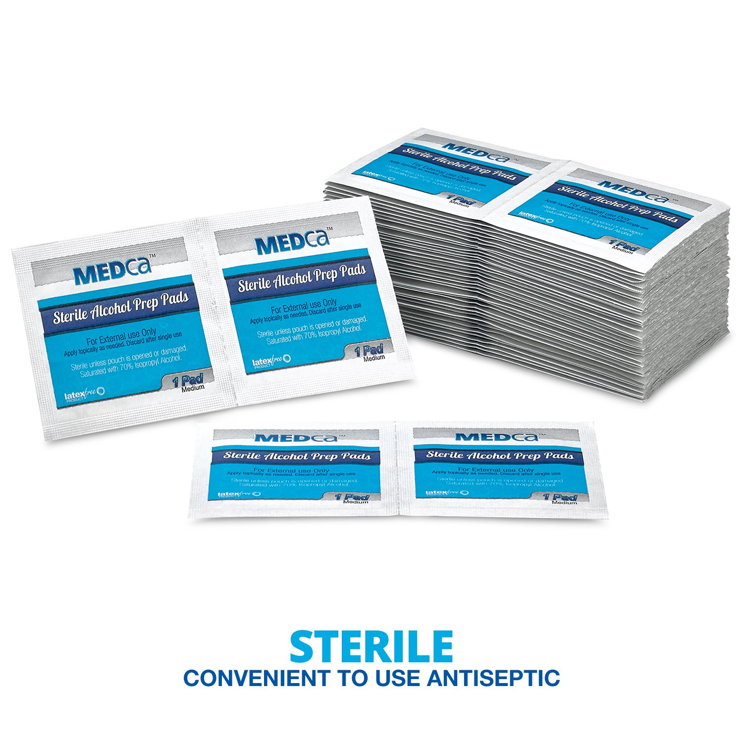 Alcohol Wipes - Sterile Alcohol Prep Pads, Antiseptic Sanitizer Swab Pads, 2-Ply Cotton 70% Isopropyl Individually Wrapped Box of 500 by MEDca (Image #2)