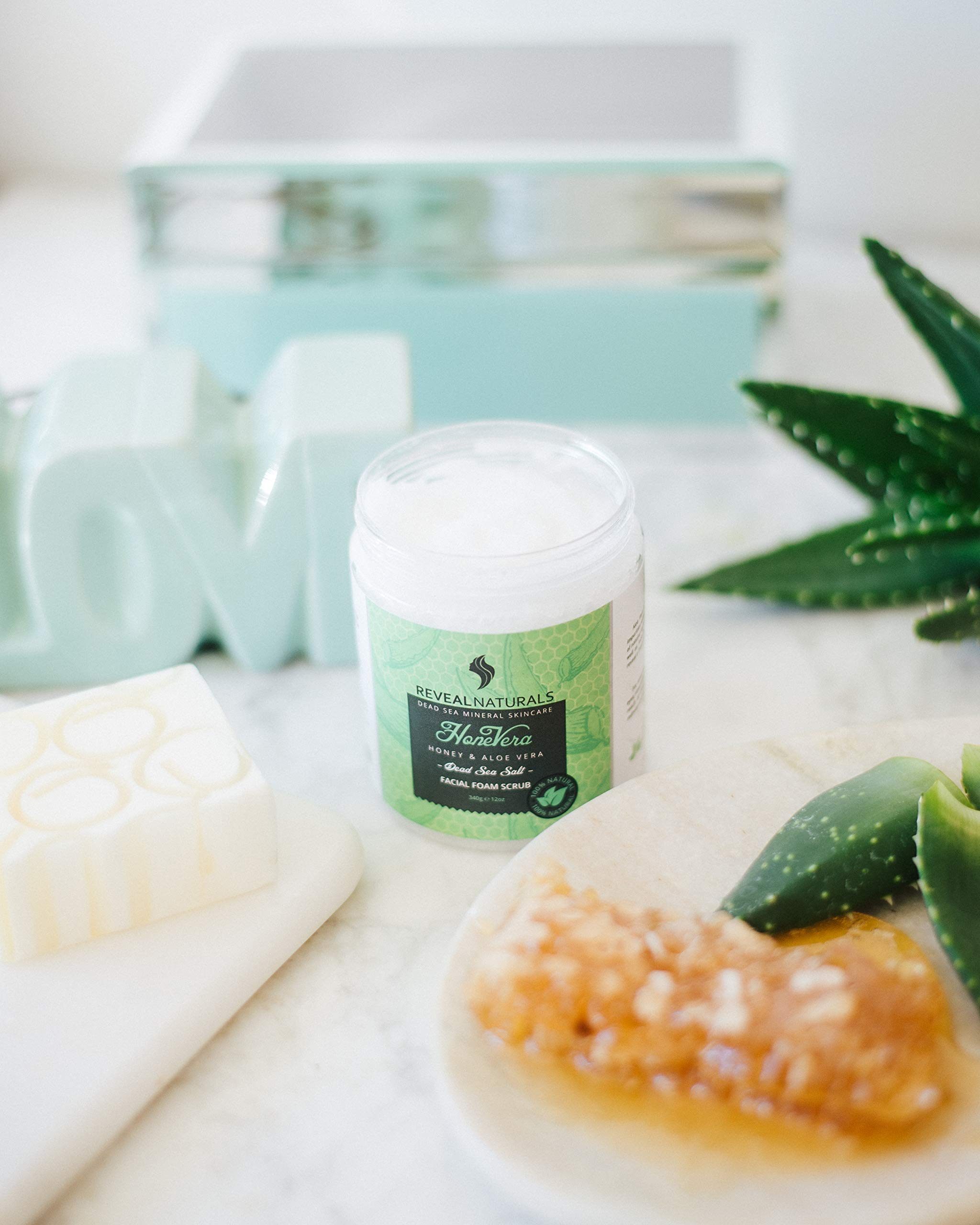 Natural and Organic Aloe Vera Salt Scrub and Body Scrub with Dead Sea Salt, Vitamin E and Honey. Facial Cleanser, Face Wash, Moisturizer, Blackhead Remover, Pore Cleaner and Exfoliating Body Wash