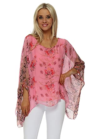 1922ede8a169f Made in Italy Pink Silk Floral Filigree Floaty Top One Size Pink   Amazon.co.uk  Clothing