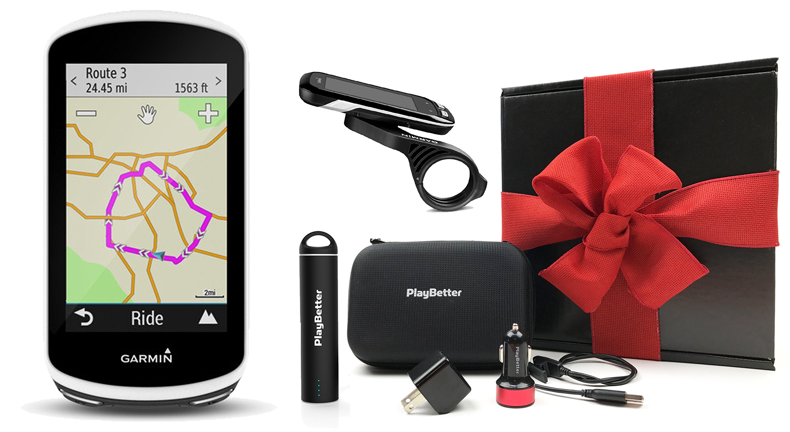Garmin Edge 1030 Gift Box Bundle | with PlayBetter Portable Lipstick Charger, PlayBetter Car/Wall Adapters, Hard Case, Bike Mounts | GPS Bike Computer, Navigation | Gift Box, Red Bow