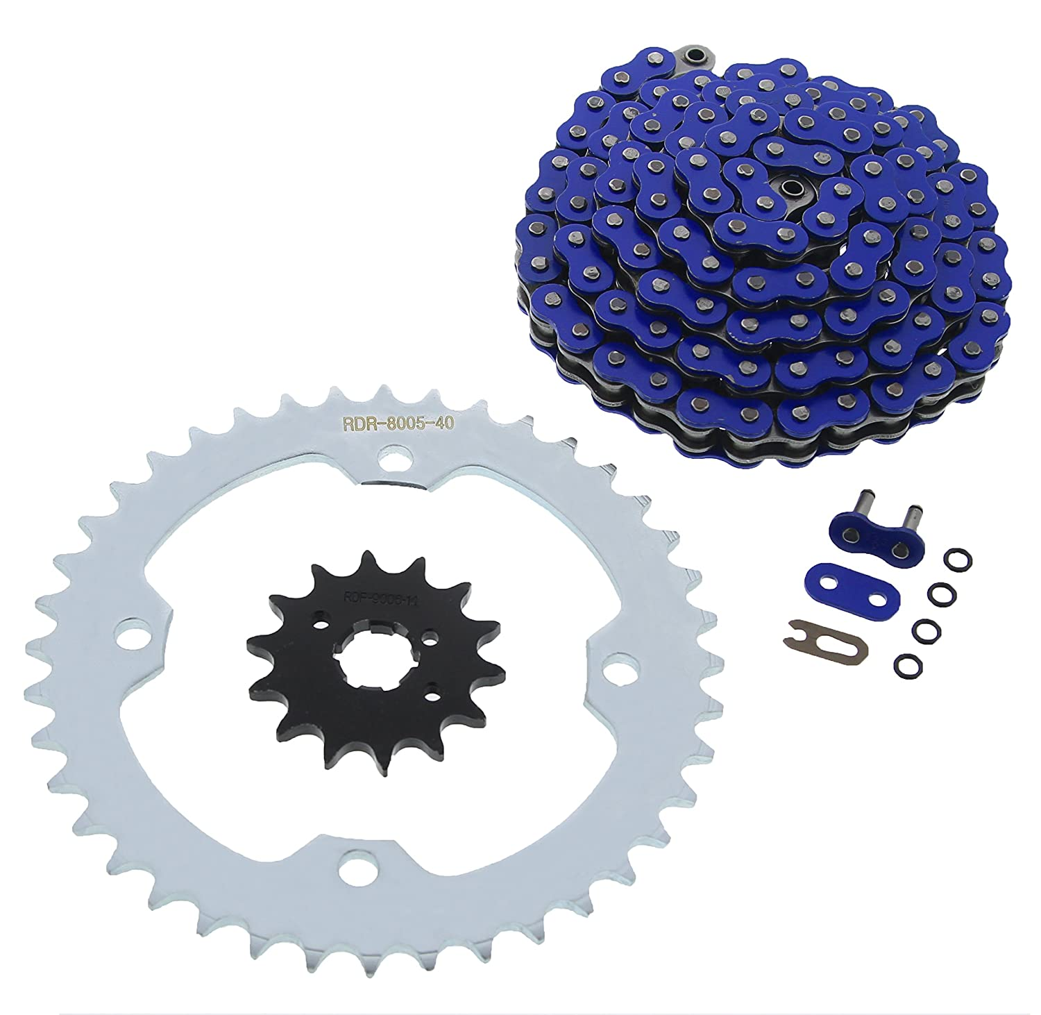 2008-2011 Yamaha YFM350 350 Raptor Blue O-Ring Chain /& Black Sprocket 13//40 98L
