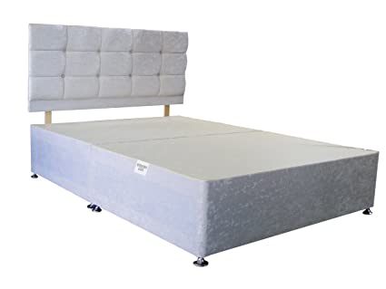 more photos 9cf99 09150 White Crushed Velvet Divan Base And Dimante Headboard (Available in 2'6  Small Single - 3ft Single - 4ft Small Double - 4ft6 Double - 5ft King Size  - ...