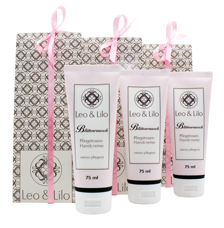 3er-Geschenkset Blütenrausch Pfingstrosen-Handcreme 75 ml jeweils mit Geschenkverpackung von Leo & Lilo für trockene und strapazierte Hände.