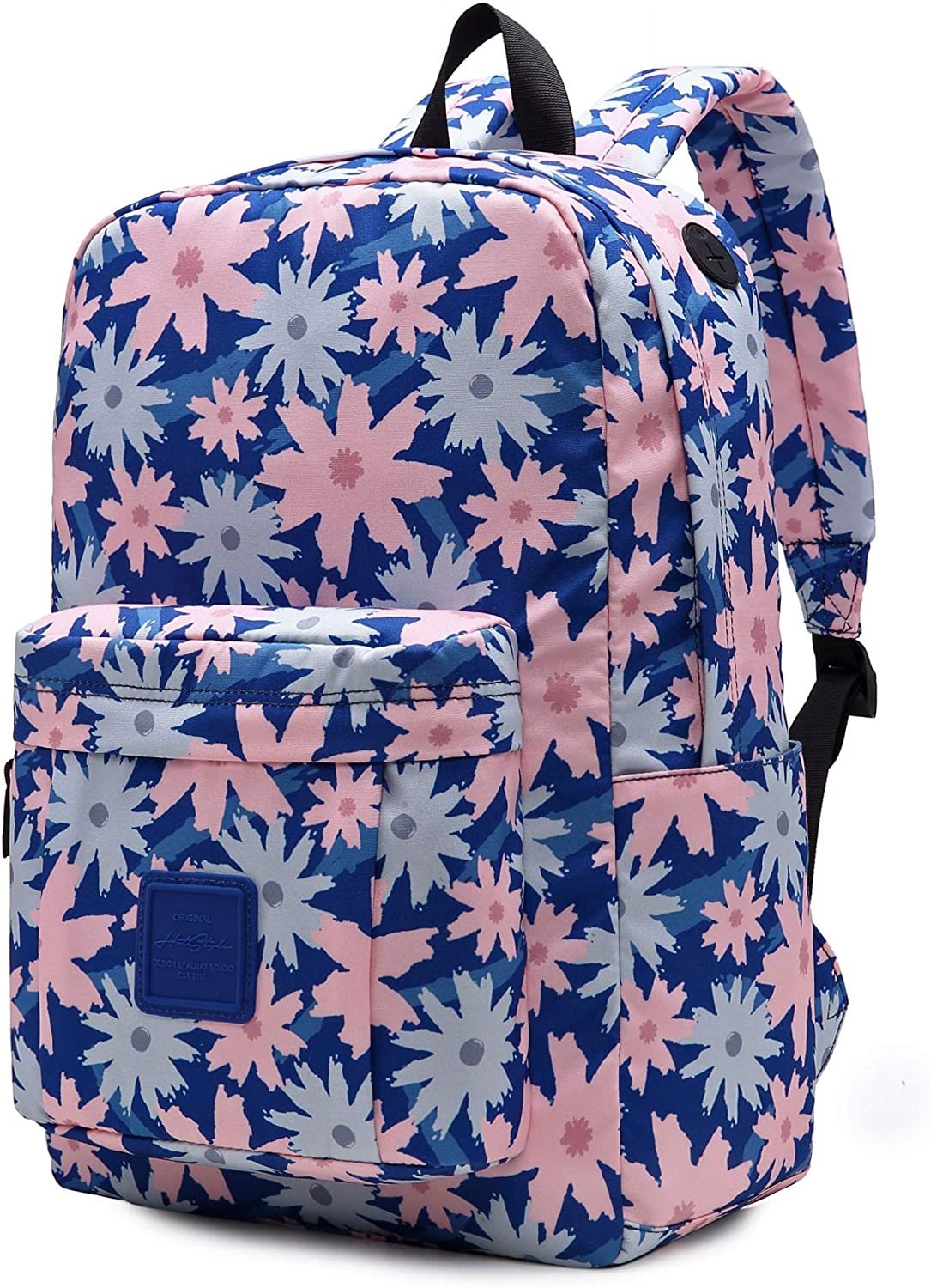 599s Floral School Backpack For Teen Girls, Water resistance & Durable Bookbag Cute for College, Coreopsis, Navy