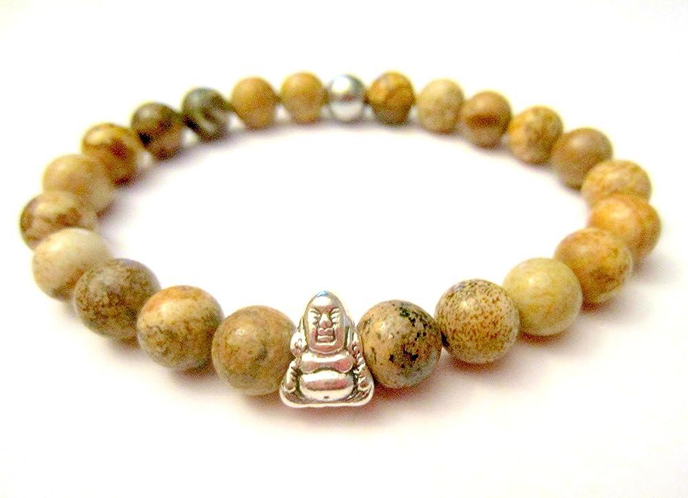 Yoga Bracelet Mala Beads Natural ite Mala Elastic Rope Bracelet Buddha Charms Mala Bracelet Lotus Charm Spiritual Beads Bracelet Meditation Bracelet