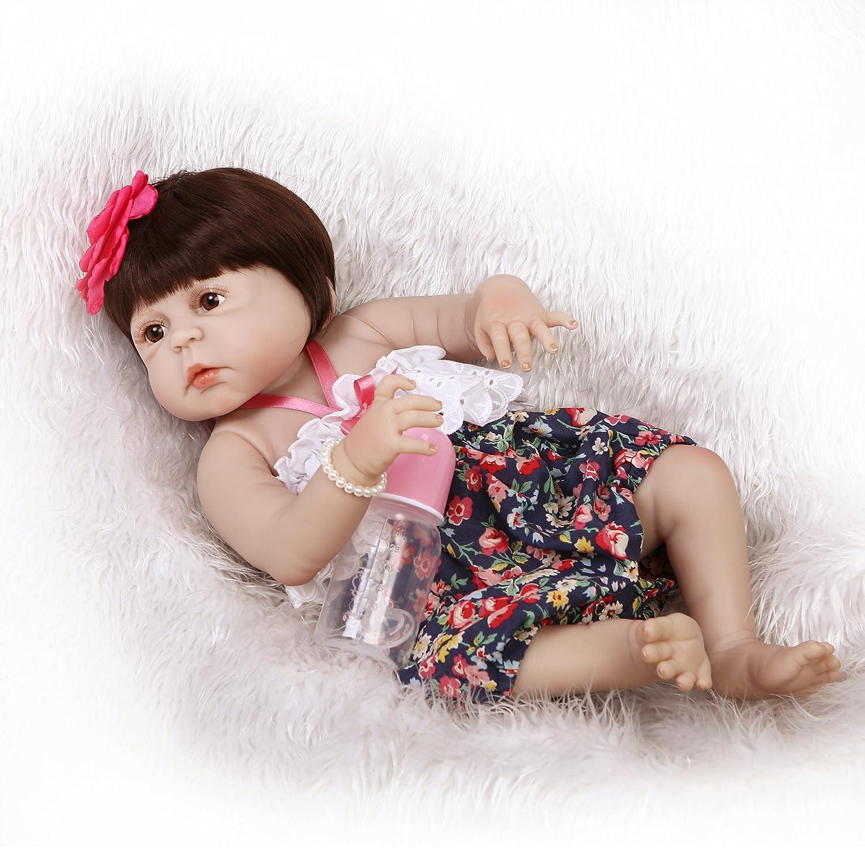 icradle防水23インチ57 cmハンドメイドRealリアルなフルシリコンSiliconeビニールLifelike Lovely CuteガールRebornベビー人形おもちゃNewborn Doll解剖学的に正しい人気花柄ドレスクリスマスギフト   B07BF4G37V