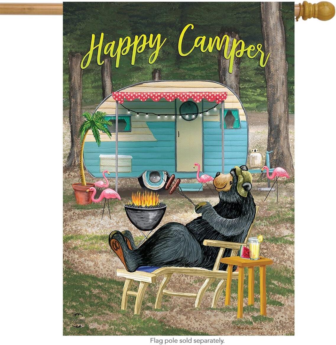"Briarwood Lane Happy Camper Bear Summer House Flag Outdoors Humor 28"" x 40"""