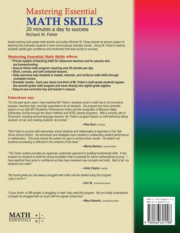 Pre-Algebra Concepts Mastering Essential Math Skills: Amazon.ca: Richard W.  Fisher: Books