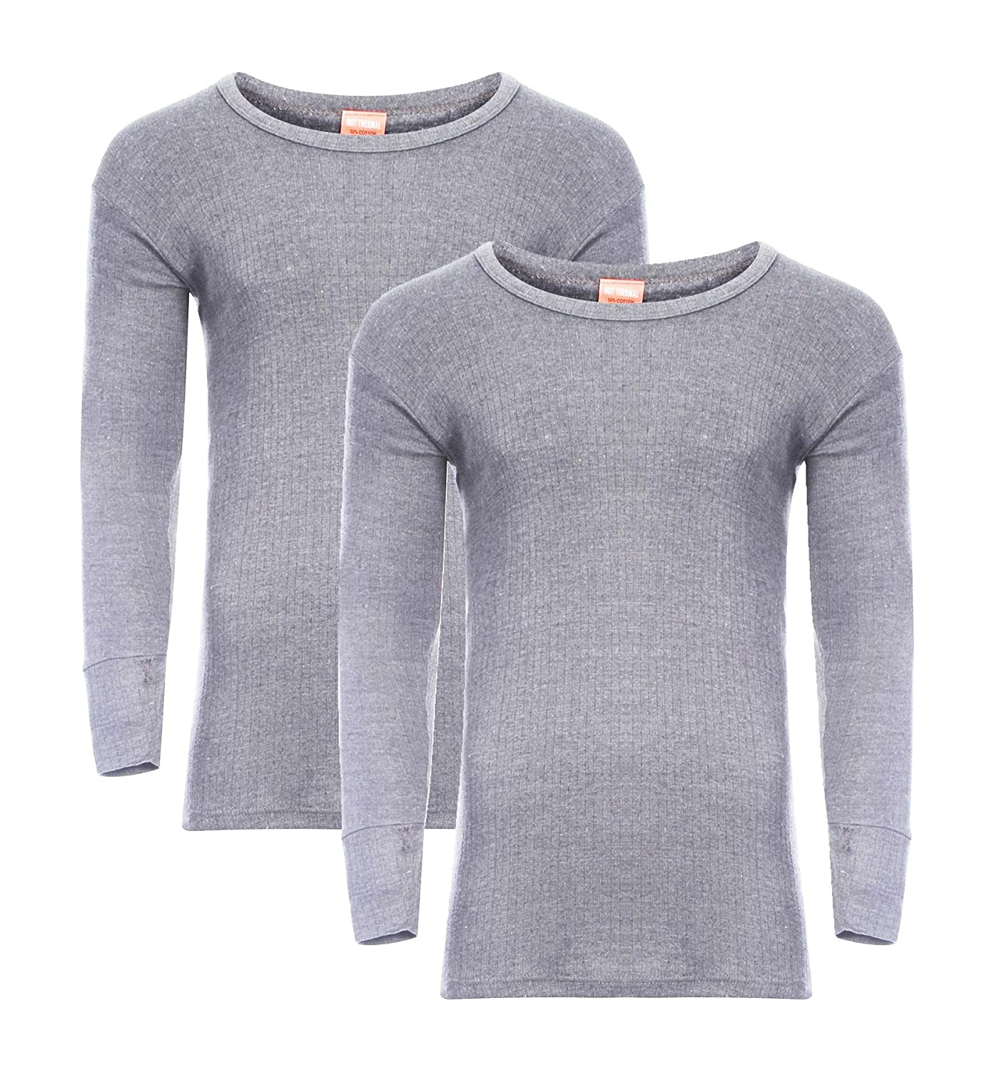 Heatwave® Pack Of 2 Men's Thermal Long Sleeve Top, Warm Underwear Baselayer, S M L XL XXL Thermals, Marl Grey RZK Textiles