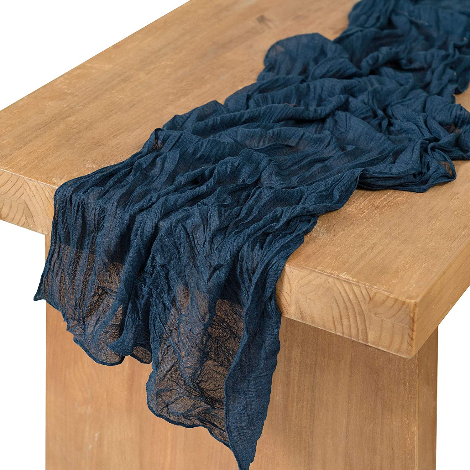 """Ling's moment 10ft x 35"""" Wide Navy Blue Gauze Semi-Sheer Table Runner Cheesecloth Tablecloth for Wedding Reception Bridal Shower Birthdap Party Table Centerpieces Decor"""