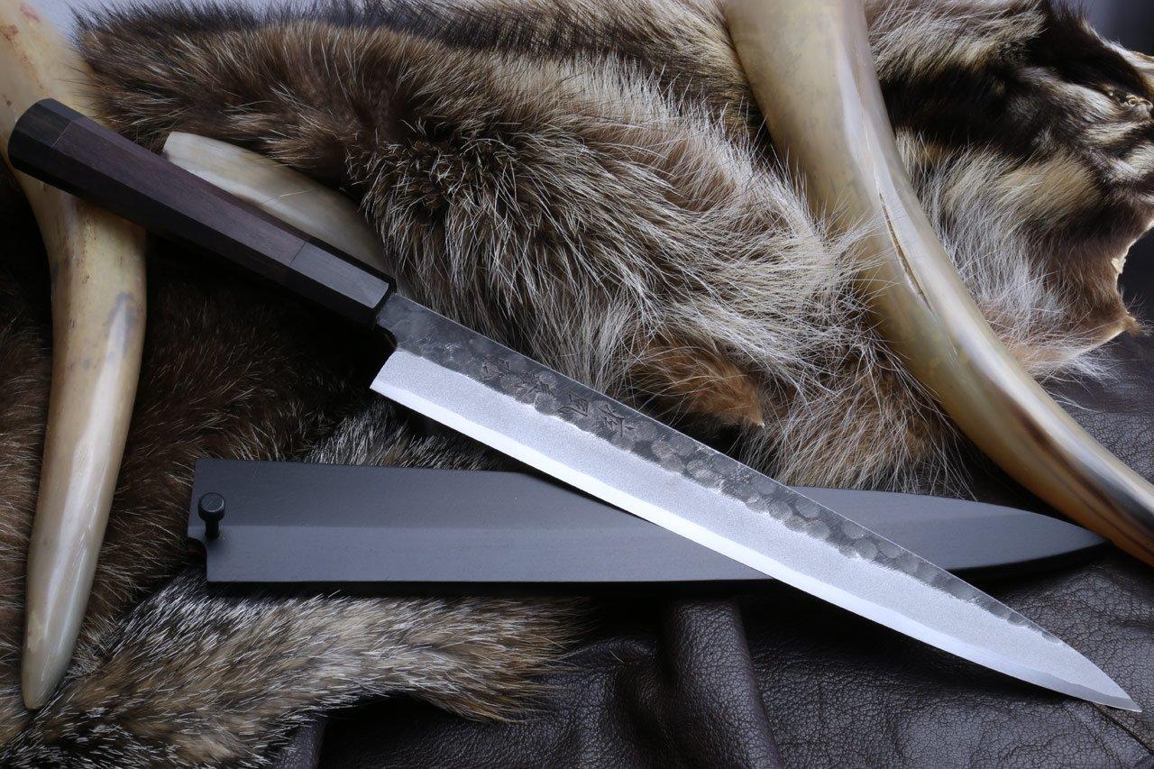 Yoshihiro Hongasumi White Steel Black Hammered Forged Yanagi Sashimi Knife 10.5'' with Nuri Saya Cover