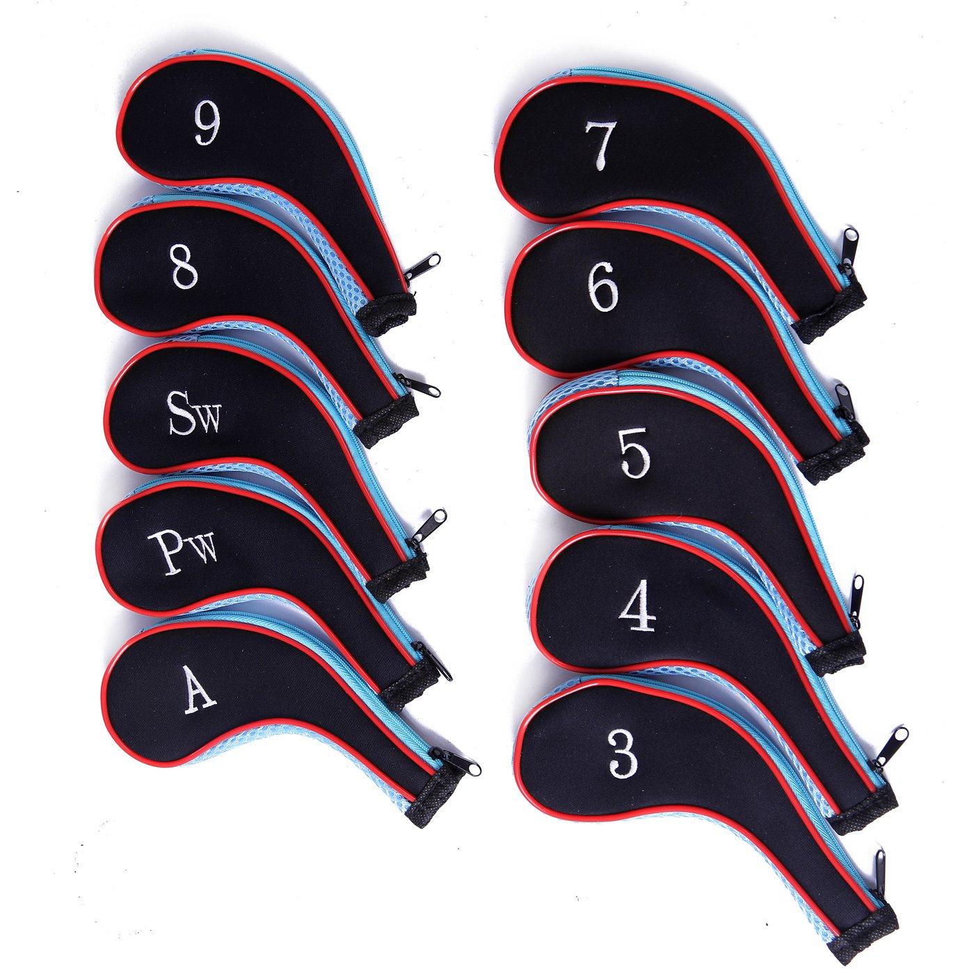 HDE Neoprene Zippered Golf Club Iron Covers - Set of 10 (Blue)