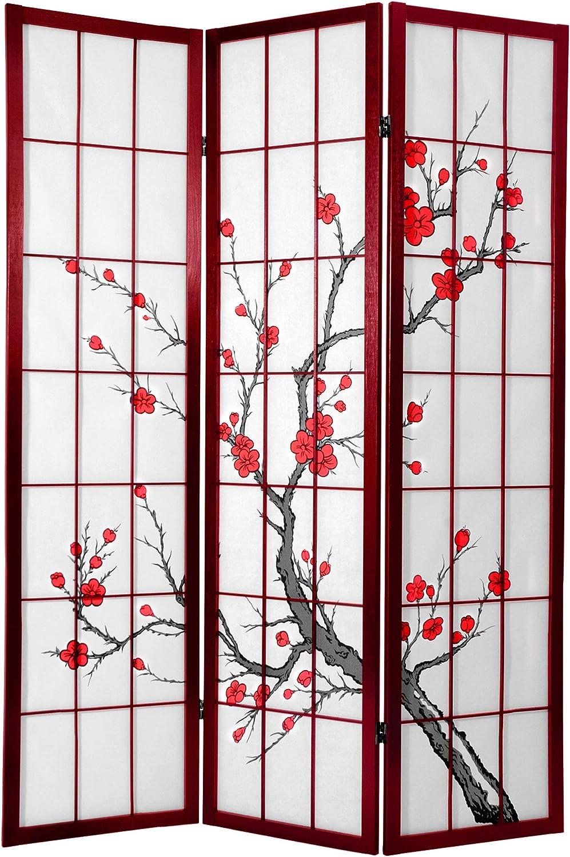 Oriental Furniture 6 ft. Tall Cherry Blossom Shoji Screen Rosewood