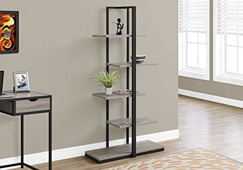 Monarch Specialties I Bookcase-60 H/Dark Taupe/Black Metal - a good cheap modern bookcase