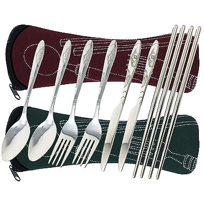 8 pièces Couverts de voyage, pour l'extérieur et le camping, en acier inoxydable, 8 morceaux coutellerie couteau, fourchette, cuillère, baguettes (brun rouge et vert foncé)
