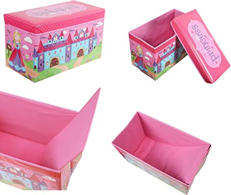 Princess acolchado caja de almacenaje con tapa baúl organizador soluciones libros caja de juguete Niñas: Amazon.es: Hogar