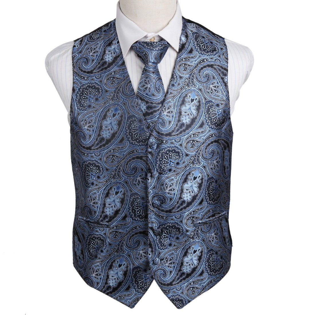 EGD2B03A-3XL Grey Blue Travel Dad Patterns Microfiber Dress Tuxedo Vest Neck Tie Set Inspire For Casual By Epoint