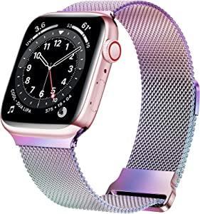 JuQBanke Magnetic Band Compatible with Apple Watch 38mm 40mm, Stainless Steel Mesh Milanese Strap with Adjustable Loop, Metal Wristband for iWatch SE Series 6 5 4 3 2 1 for Women Men, Colorful