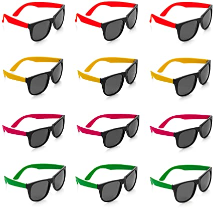 5a0896b4bb87 Kicko Neon Sunglasses with Dark Lenses - 12 Pack 80 s Style Unisex Aviators  in Assorted Colors
