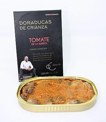 Conserva Gourmet de Dorada de crianza ecológica en salsa de Tomate de la Huerta, Envasado