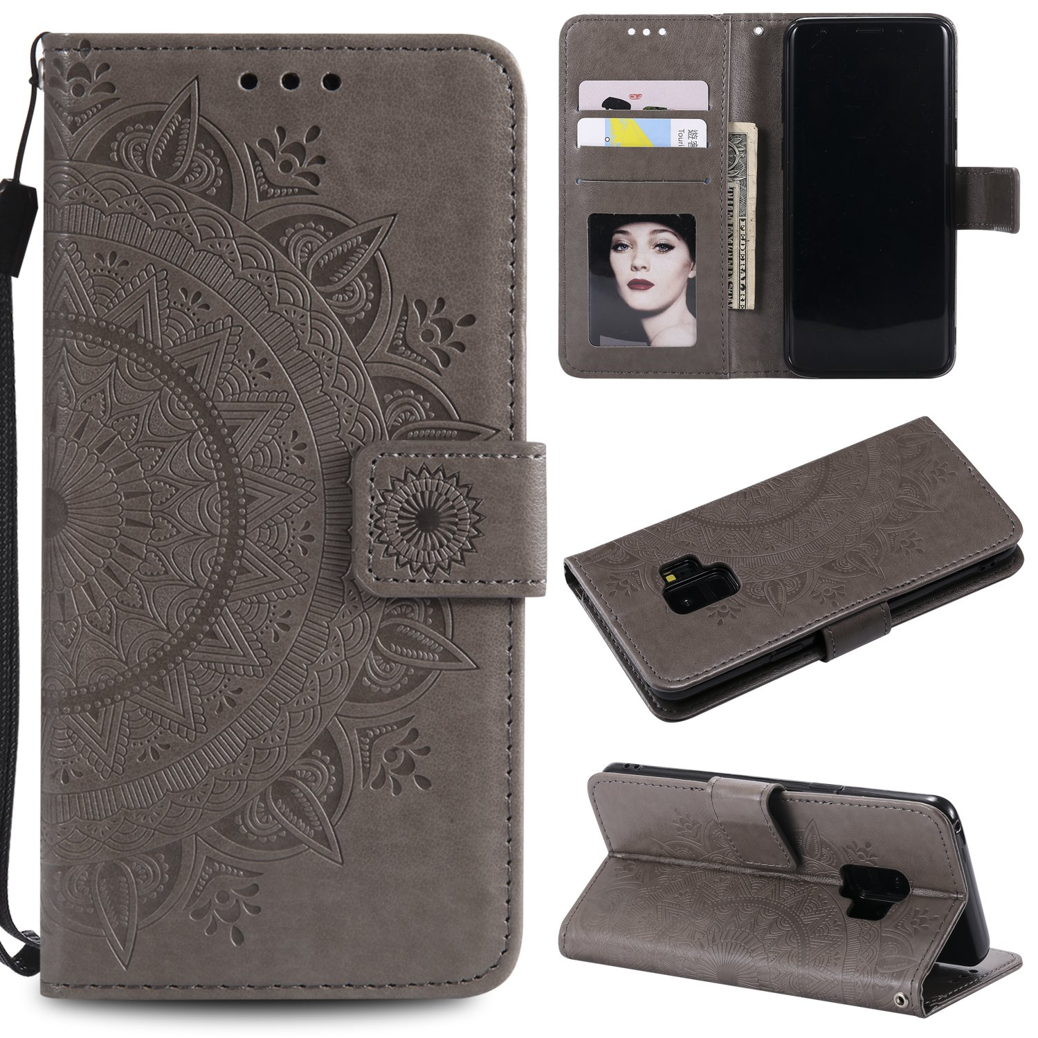 Galaxy S9 Floral Wallet Case,Galaxy S9 Strap Flip Case,Leecase Embossed Totem Flower Design Pu Leather Bookstyle Stand Flip Case for Samsung Galaxy S9-Grey