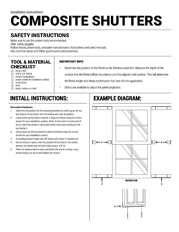 Per Pair 15W x 65H Ekena Millwork CWB15X065BLC Exterior Four Board Composite Wood Board-N-Batten Shutters with Installation Brackets Black