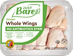 Just Bare All Natural Fresh Chicken Whole Wings | Antibiotic Free | Bone-In | 1.375 LB