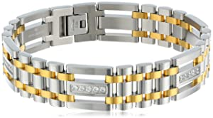 Men's Cubic Zirconia Stainless Steel Two-Tone Bracelet, 9