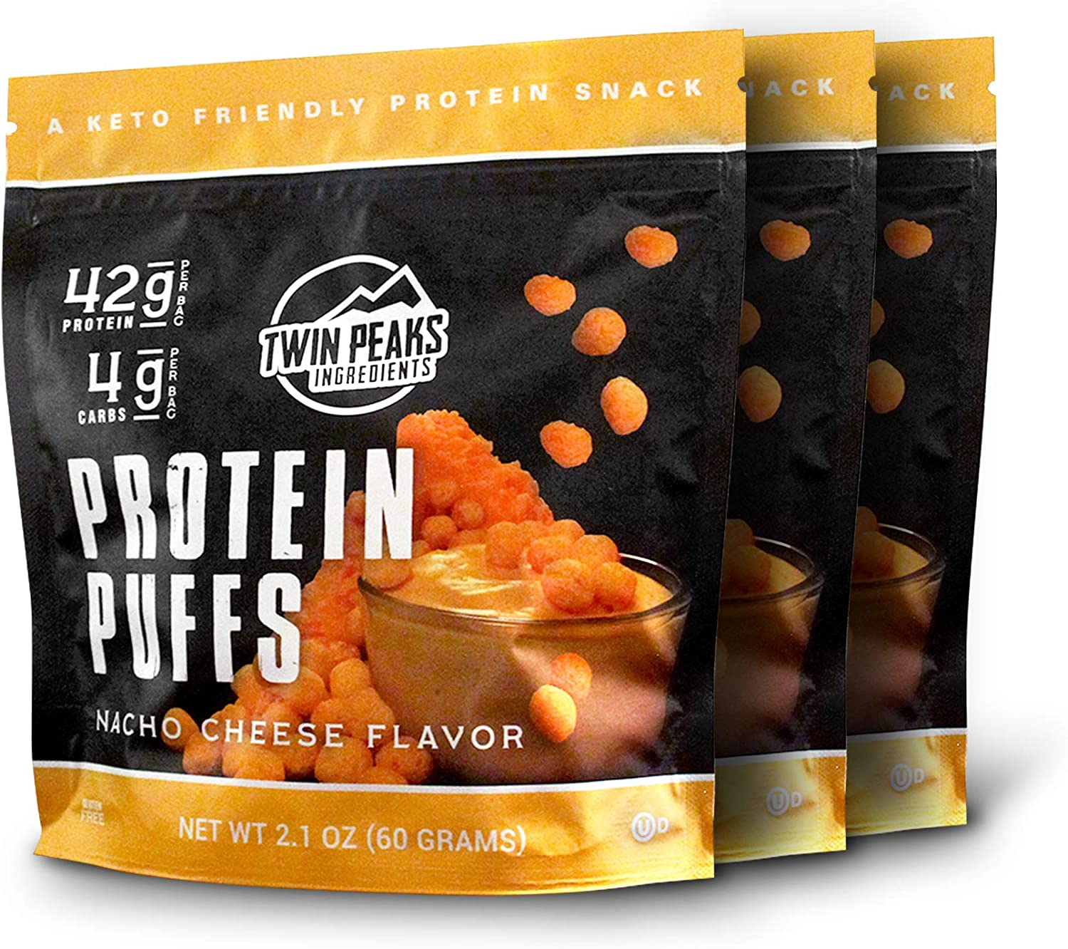 Twin Peaks Low Carb, Allergy Friendly Protein Puffs, Nacho Cheese, 2 Servings, 3 Pack (60g, 42g Protein, 4g Carbs)