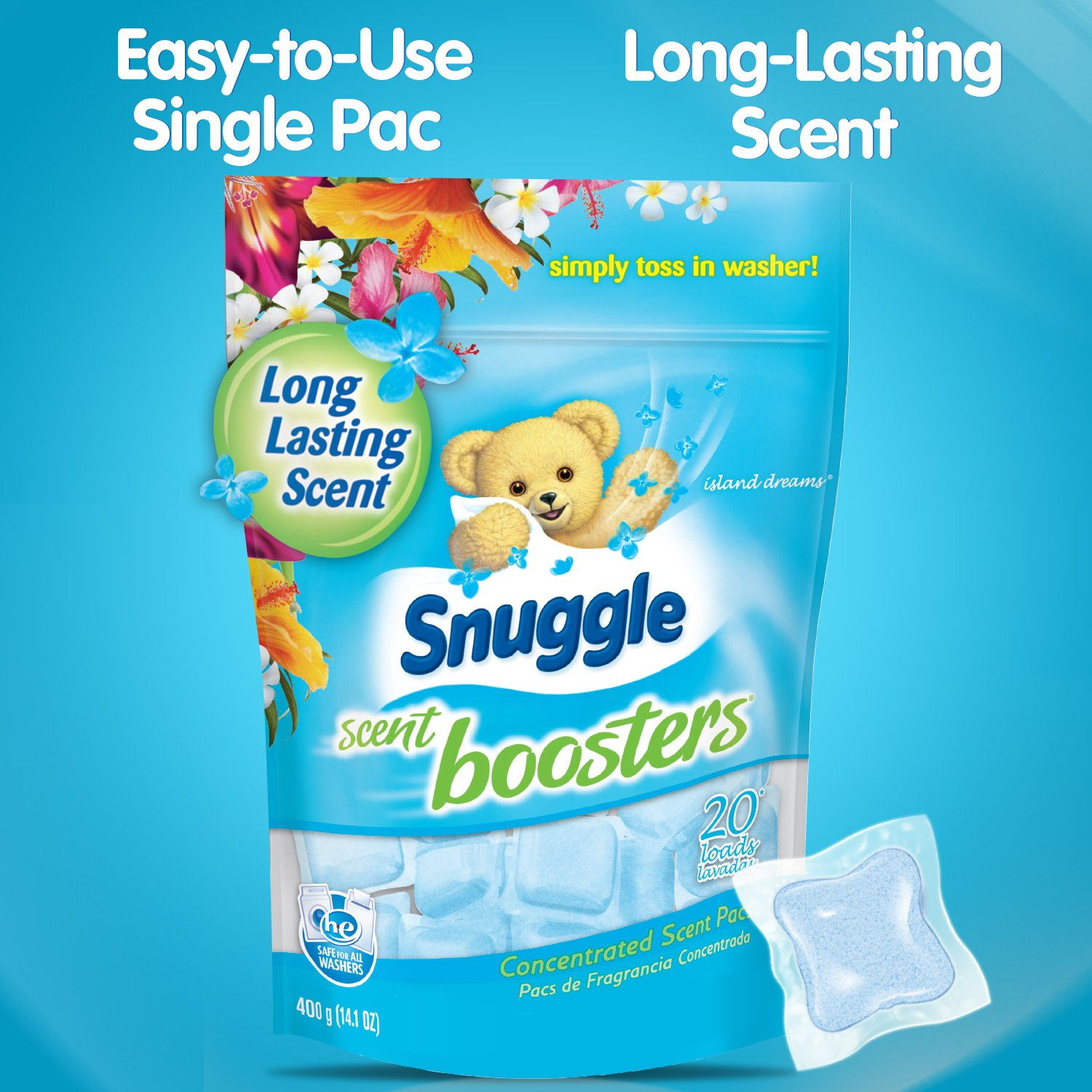 Amazon.com: Snuggle Laundry Scent Boosters Concentrated Scent Pacs, Island Dreams, Pouch, 20 Count: Health & Personal Care