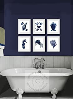 navy blue bathroom, navy and coral bedroom, navy and black jewelry, navy and black bedding, navy and black clothing, on black and navy bathroom