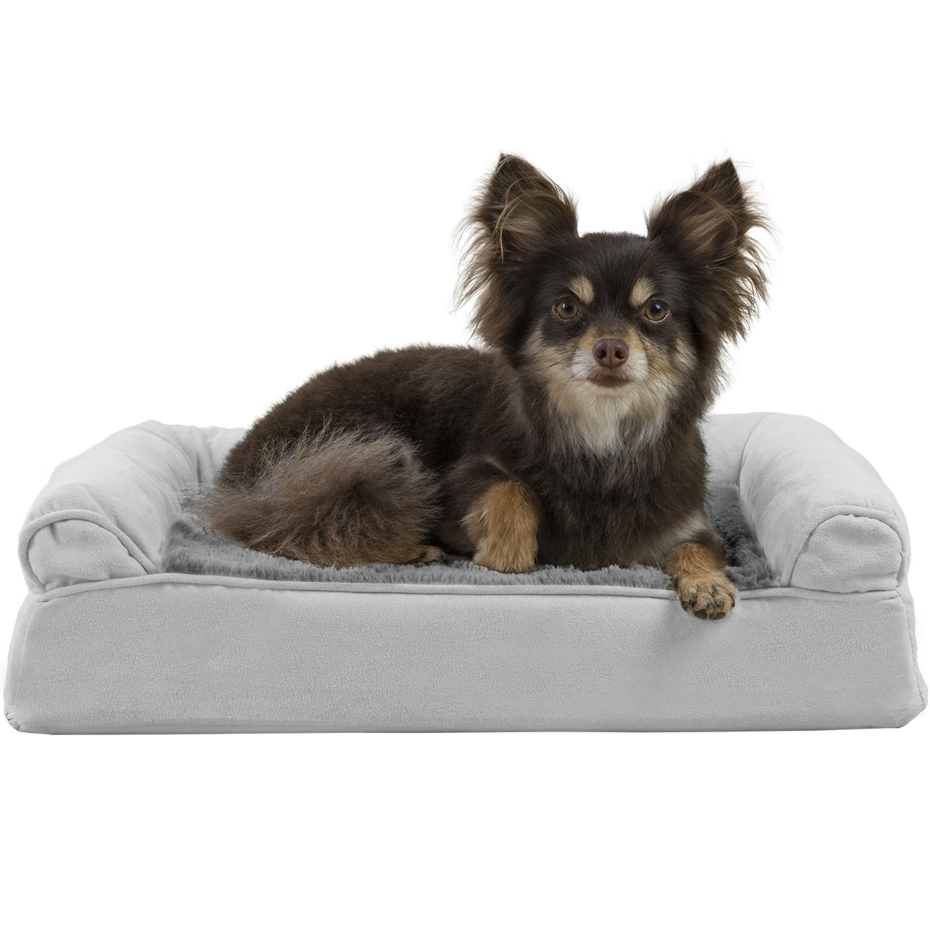 FurHaven Pet Dog Bed | Orthopedic Plush & Suede Sofa-Style Couch Pet Bed for Dogs & Cats, Gray, Small