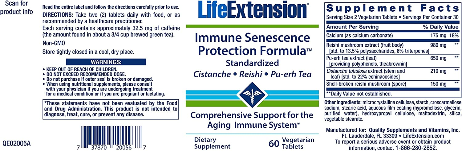Life Extension Immune Senescence Formula Standardized Cistanche Reishi PU-ERH Tea, 60 Vegetarian Tablets