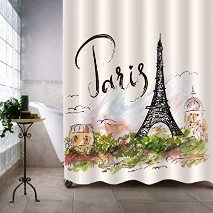 MitoVilla Watercolor Urban Outfitters Decor Shower Curtain Hand Drawn Colorful Paris Eiffel Tower And Architecture