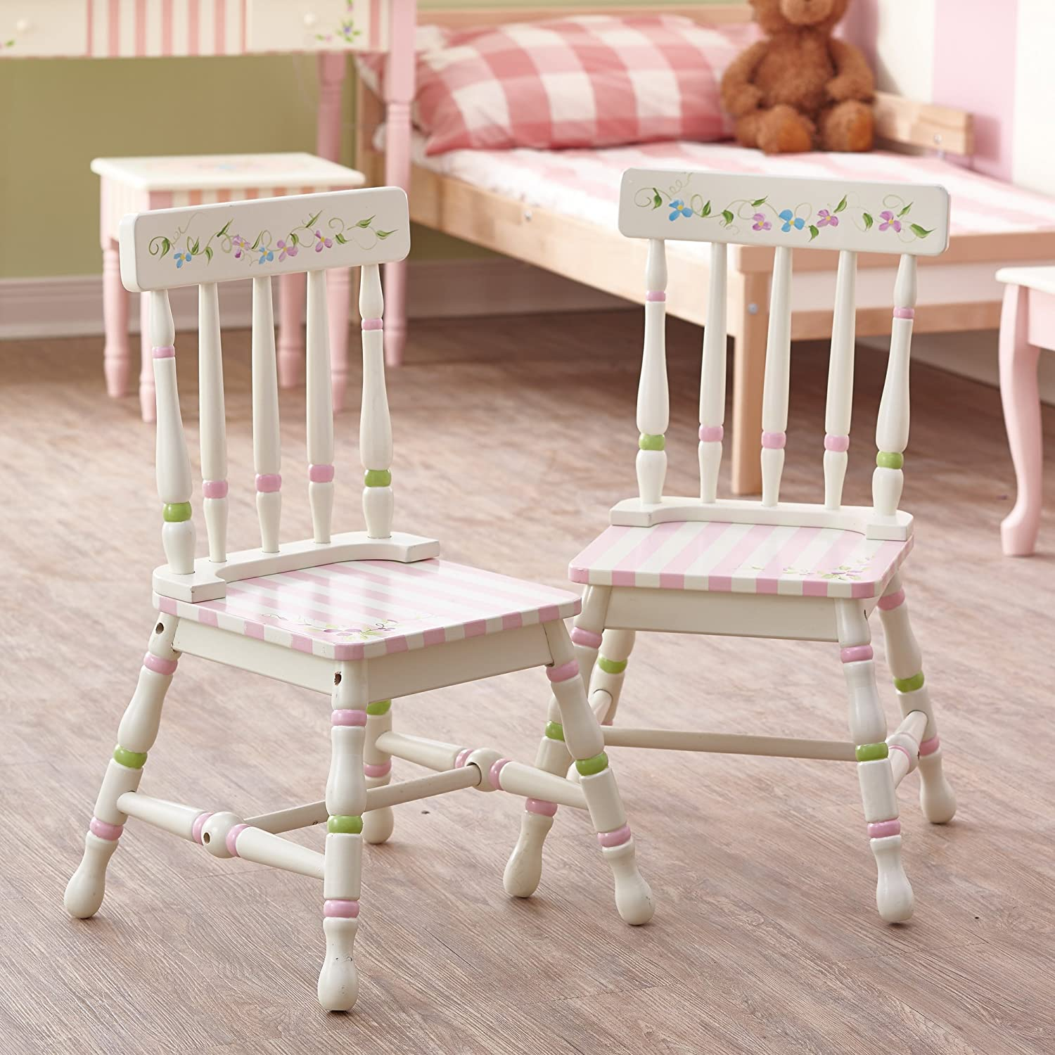 Fantasy Fields - Enchanted Woodland themed Kids Wooden 2 Chairs Set (Table Sold Seperately)| Hand Crafted & Hand Painted Details | Child Friendly Water-based Paint Teamson TD-11740A