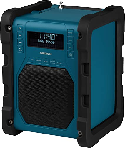Medion P66098 Dab Construction Site Radio With Bluetooth Function Usb Aux Headphone Jack Pll Fm Rds Integrated Battery Blue Home Cinema Tv Video