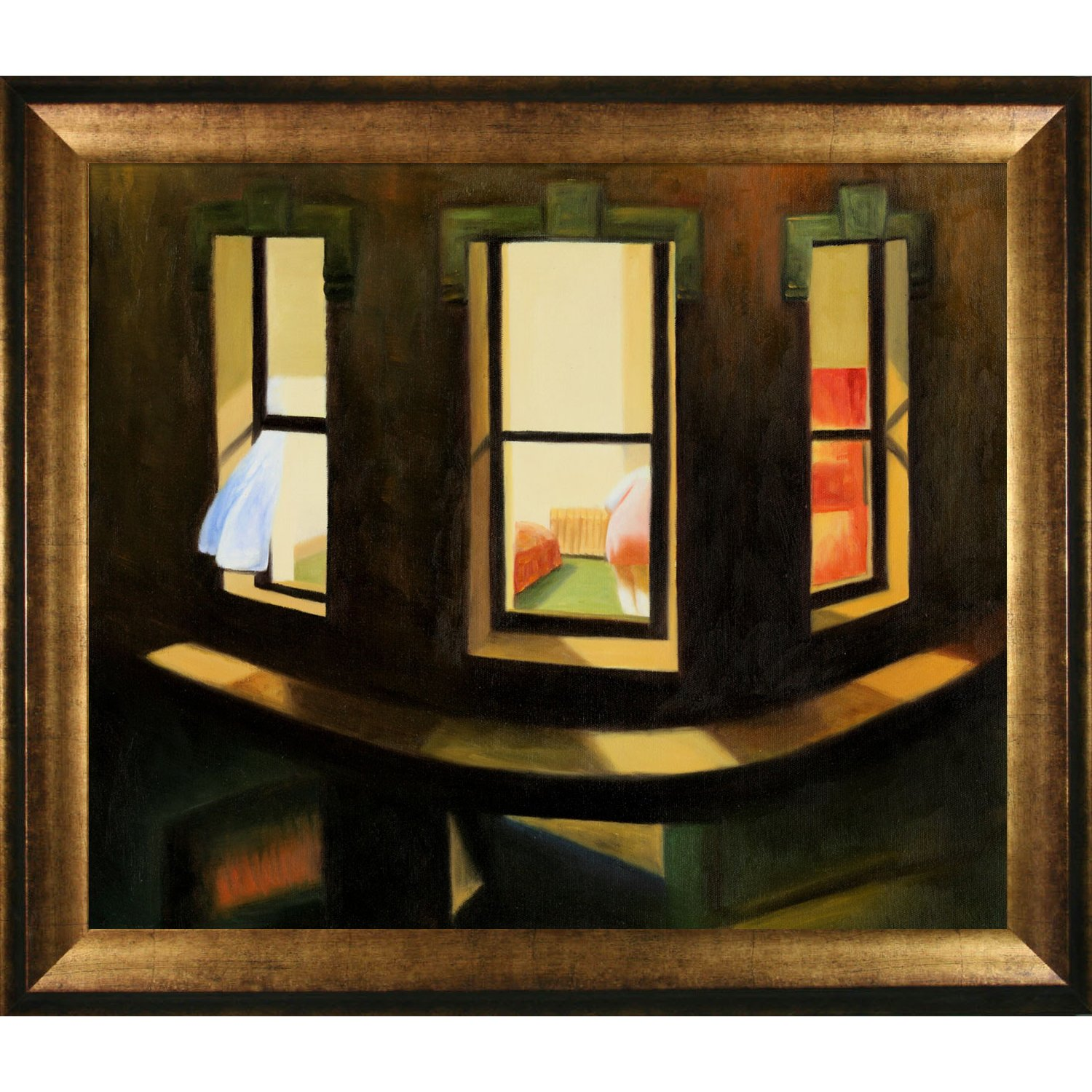 Overstockart Hopper Night Windows Artwork With Athenian Gold Frame Antique Finish Amazon In Home Kitchen