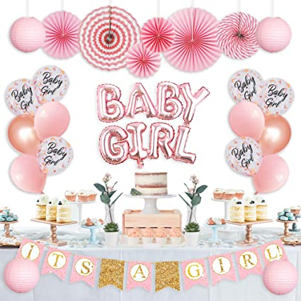 IT/'S A GIRL Baby Shower Hanging Banner Kit Set of 25 Party Decoration for Girl