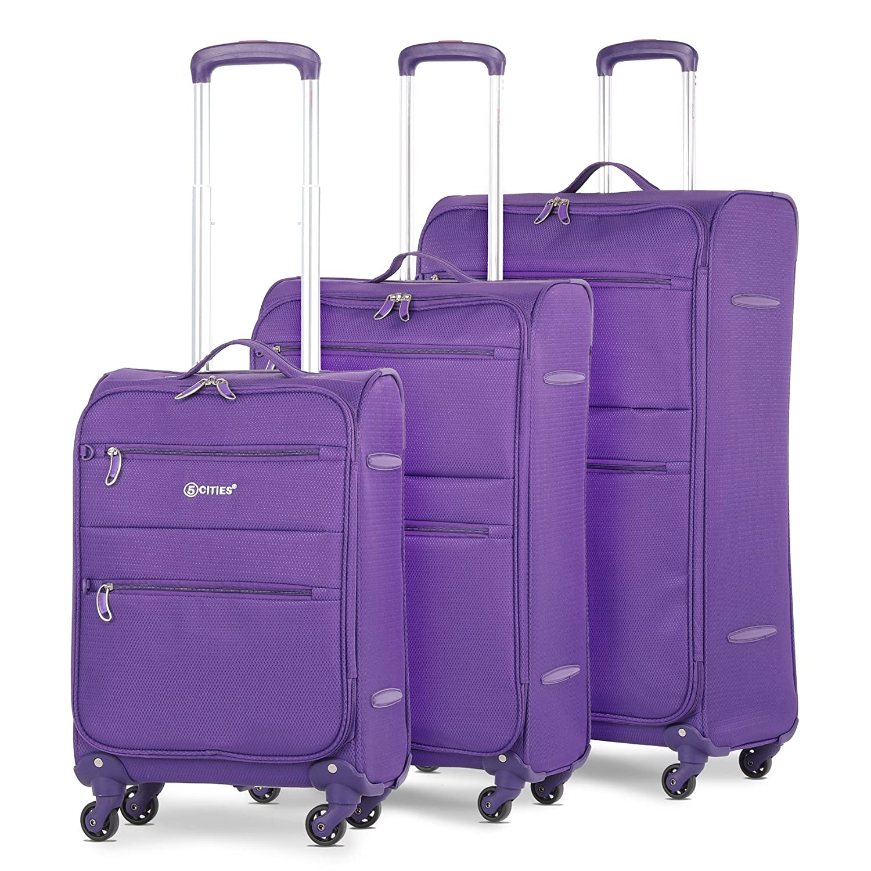 "5 Cities Lightweight 4 Wheel Spinner 3 Piece Travel Trolley Luggage Suitcase Set, 21"" Cabin + 26"" Medium + 29"" Large (Black) 21 Cabin + 26 Medium + 29 Large (Black)"