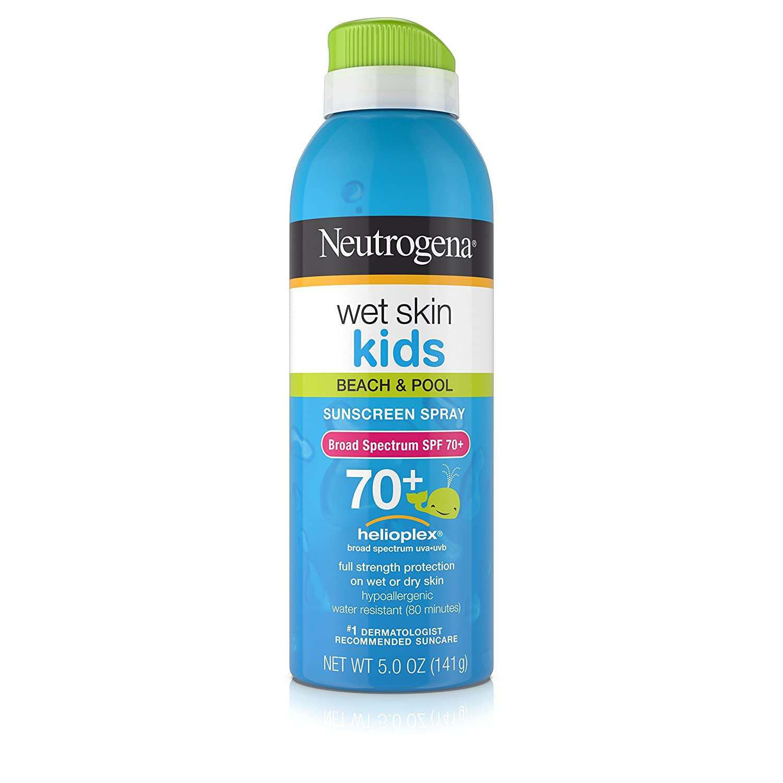Neutrogena Wet Skin Kids Sunscreen Spray, Water-Resistant and Oil-Free, Broad Spectrum SPF 70+, 5 oz Johnson & Johnson SLC J&J530634