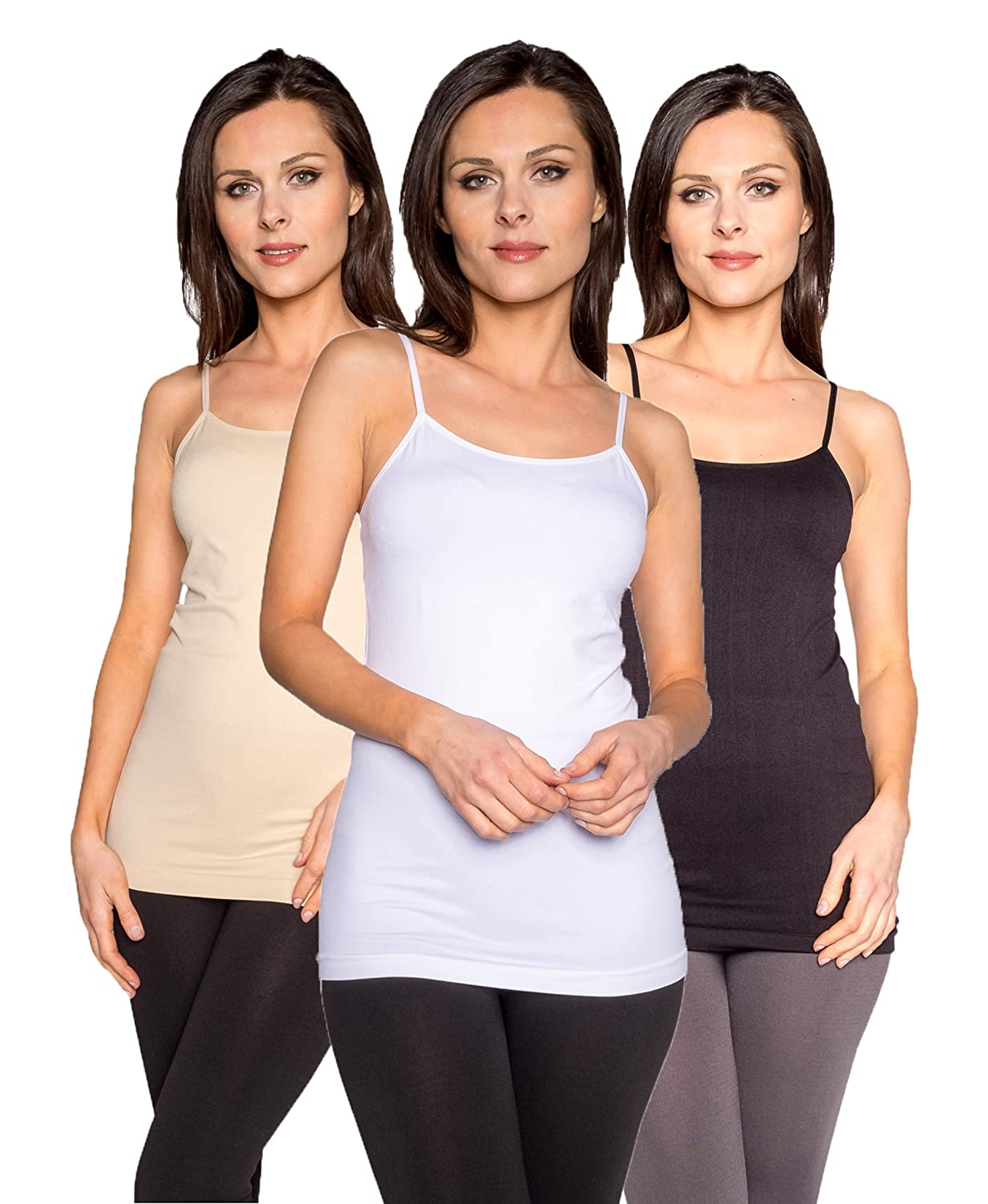 Free to Live 3 Pack Women's Seamless Basic Layering Cami Tank Top with Spaghetti Straps White Beige)