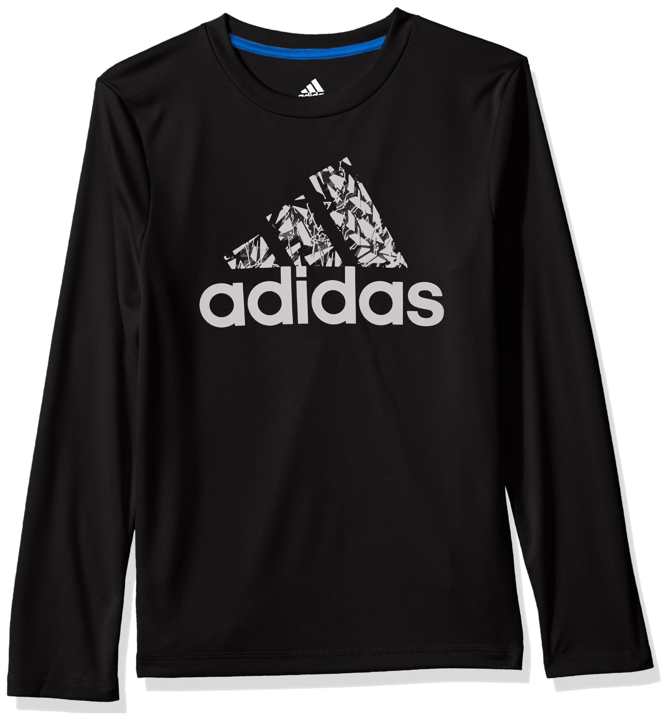 adidas Big Boys' Basic Long Sleeve Tee Shirt, Midnight, M