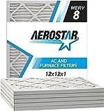 Aerostar 12x12x1 MERV 8 Pleated Air Filter, Pleated (Pack of 6)