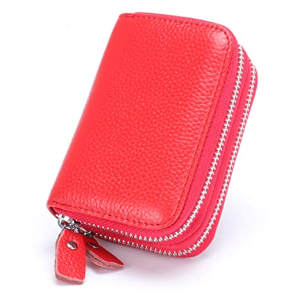 6ad8a63585bd MuLier Top Grain Genuine Leather Double Zipper Around RFID Blocking  Anti-theft Women Card Holder Purse (Red)
