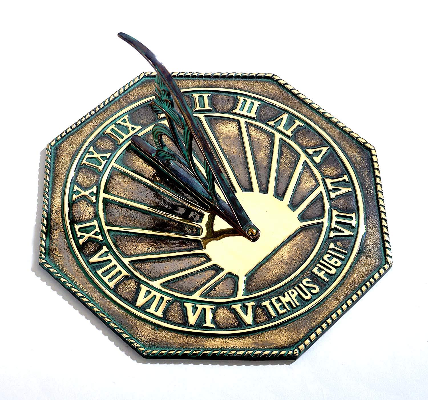 ANTIQUECOLLECTION Solid Antique Brass 'Copernicus' Sundial & Floral Gnomon - 250mm / 10'' Width