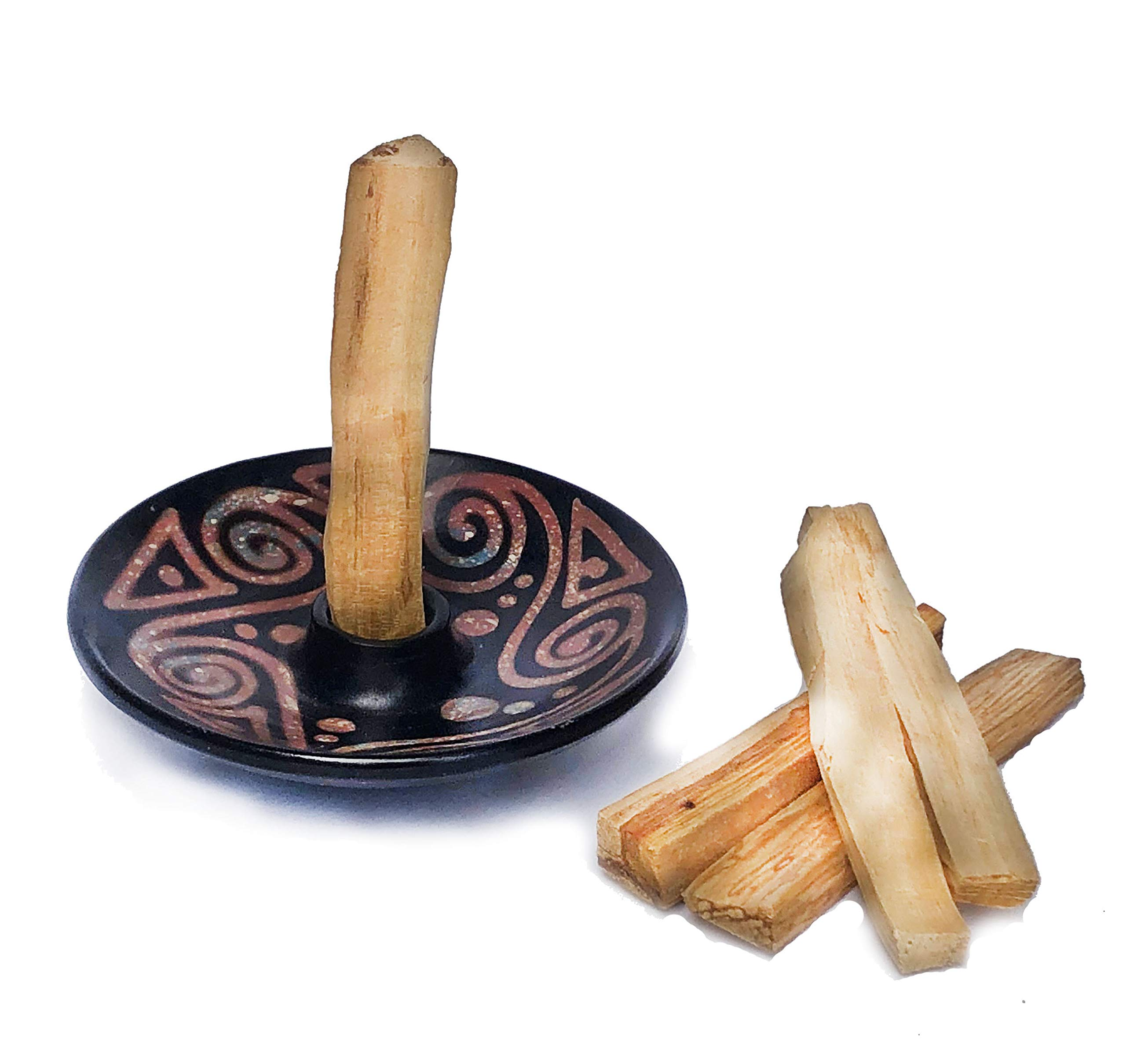 Blessed Ember Palo Santo Holder Handmade Andean Pottery from Chulucanas, Peru, 5 Palo Santo Sticks Included (Designs Vary)