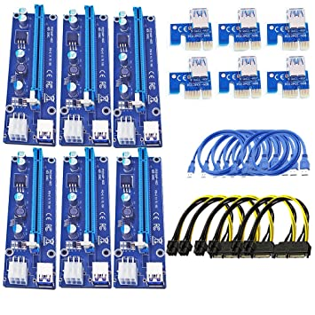 Pcie Riser 6 Pack Stable Performance 006C 6PIN Power Supply GPU Riser  Adapter Extender Perfect For Setting up Ehtereum ,Mining Rigs