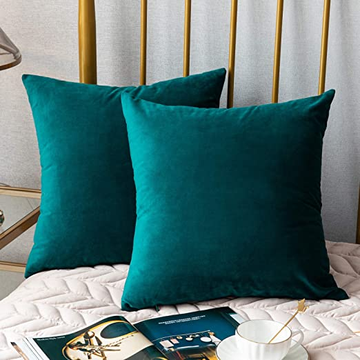 DEZENE 20 x 20 cubre Almohada, sólidos de terciopelo suave y decoración de tirar almohada, fundas de almohada Euro Accent, verde oscuro