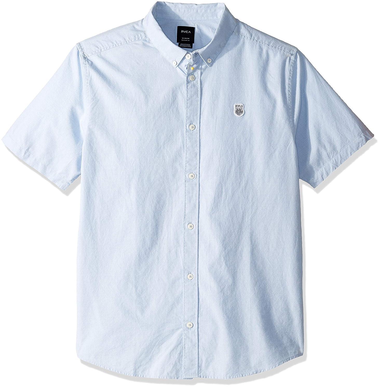 RVCA Mens ANP Twist Short Sleeve Woven Button Front Shirt