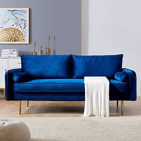 Blue Velvet Fabric Sofa Couch Julyfox 71 Inch Wide Mid Century Modern Living Room Couch With Side Storage Fashion Golden Legs For Small Spaces Kitchen Dining
